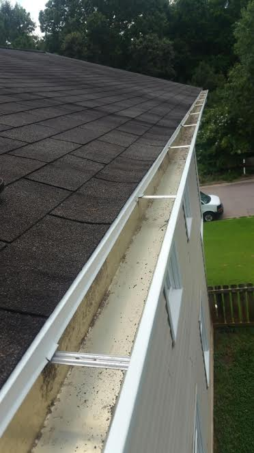 a clean gutter thanks to our Raleigh gutter cleaning services