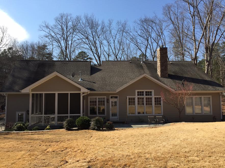 a home before our power washing in Raleigh